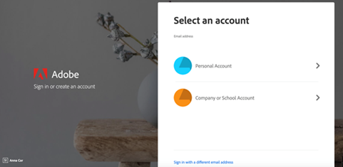 Creative Cloud select account page