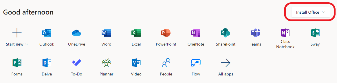 Office 365 landing area, install Office 2016 option indicated