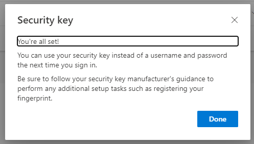 Security key setup completed