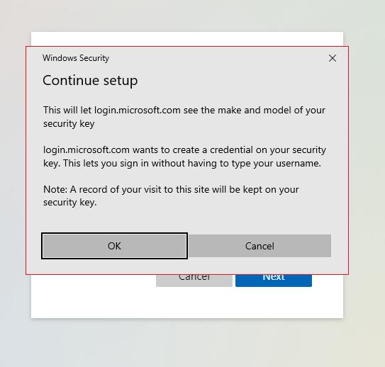 Continue security key setup