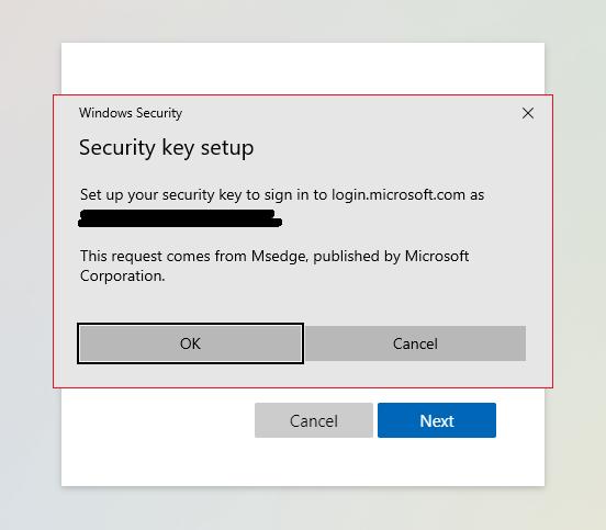 Security key setup
